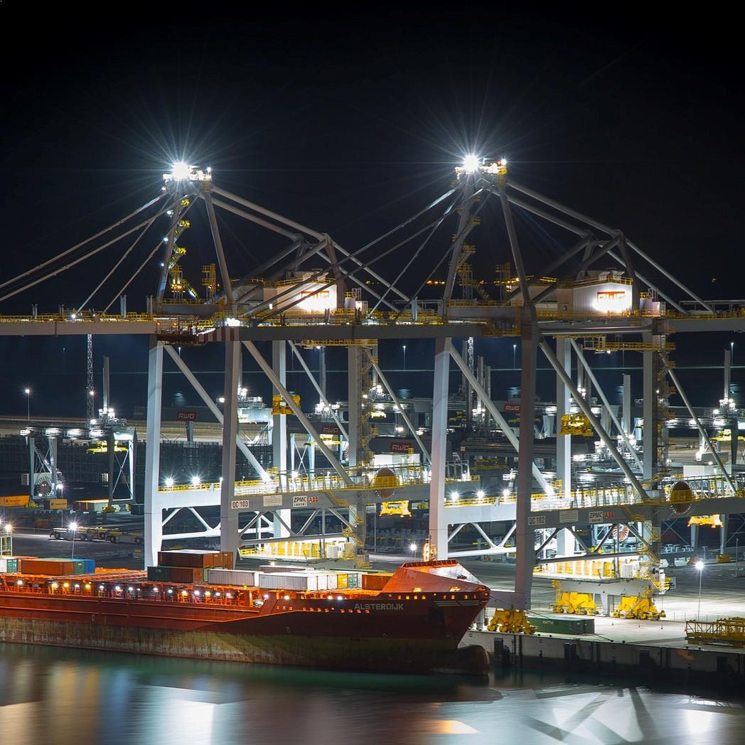 RWG Rotterdam LED crane lighting harbor